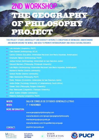 Imagen para Second Interdisciplinary Workshop of the Geography of Philosophy Project